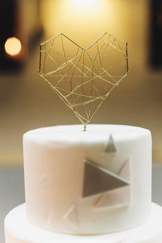 Geometric & modern heart wedding cake topper