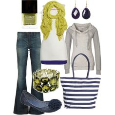 Navy & Chartreuse. Very upbeat and chic. Perfect transitional outfit.