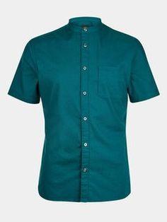Teal Short Sleeve Grandad Collar Shirt