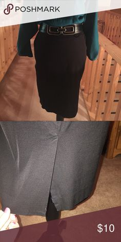 "WHBM black A-line skirt SZ 0 WHBM black fully lined 20"" skirt measured from waist . 4"" slit to back with zip closure.  Made of cotton, spandex, rayon White House Black Market Skirts Midi"