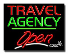 "Travel Agency Open Neon Sign - Script Text - 24""x31""-ANS1500-3048-3g  31"" Wide x 24"" Tall x 3"" Deep  Sign is mounted on an unbreakable black or clear Lexan backing  Top and bottom protective sides  110 volt U.L. listed transformer fits into a standard outlet  Hanging hardware & chain included  6' Power cord with standard transformer  Includes 2nd transformer for independent OPEN section control  For indoor use only  1 Year Warranty on electrical components"