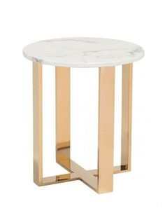 White Marble Gold Side Table | Modern Furniture • Brickell Collection