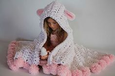 PDF crochet pattern for Hooded lamb blanket. Available in toddler to adult size