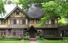 Behr tudor with half timbering and red front door home - Tudor revival exterior paint colors ...