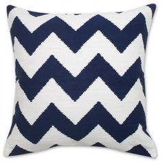 Navy and Natural Zig Zag Pop Throw Pillow