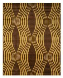 $400 Hand-tufted Brown Waves Wool Rug (7'9 x 9'9)