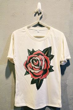 diy Old School Flower Tattoo T-Shirt Tee Shirt Tattoo T Shirts, Tee Shirts, Tattoos, Punk, Fast Fashion, Custom Clothes, Fashion Prints, Casual Chic, Cool Outfits