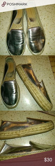 Zara basic collection sz 7 slip on shoes Silver slip on Zara basic collection shoes. Worn but lots of life left! Zara  Shoes Espadrilles