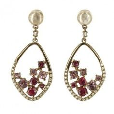 14K Rose Gold Ruby and Pink Sapphire Diamond Marquise Drop Earrings