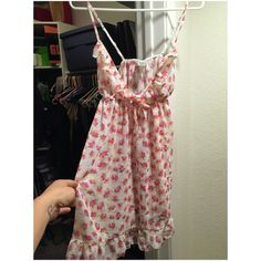 Adorable pink Floral chemise/ nightgown. Size M Pink and yellow floral pattern on white background. Cute ruffle and adjustable shoulder straps. Elastic-Empire waist with permanent bow. Never worn. H&M Intimates & Sleepwear Chemises & Slips