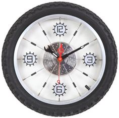 Maples Aluminum Bicycle Wheel with Rubber Tire Wall Clock Black *** Learn more by visiting the image link.