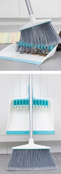 Dustpan with rubber teeth to comb out the dust bunnies! It's a broom groomer! #product_design