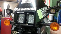 "kawasaki klr 650 4.5"" LED bars x2 as well as 2x 10W LED spot  high and low beam operate across two 4.5"" LED bars"