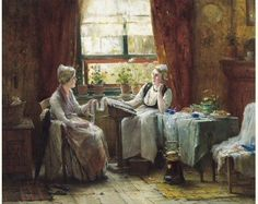 Dentellières. Huile sur toile de Edward Antoon PORTIELJE (belge 1861 - 1949)