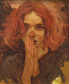 """Soft Eyes"" - Joseph Lorusso {contemporary artist redhead female face woman portrait painting} <3"
