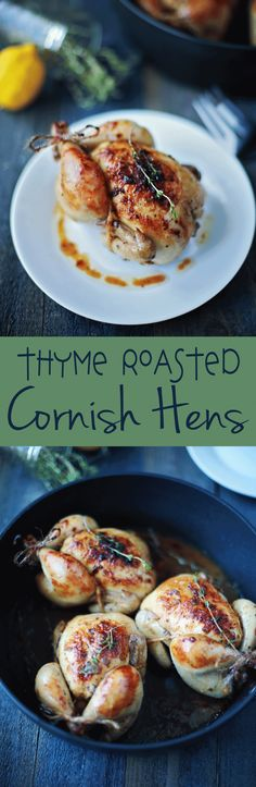 This was SOOO easy to make and absolutely delicious!!! Thyme Roasted Cornish Hens by Flirting with Flavor.