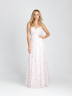 6576a42d47e26 Allure 1544 is a long strapless dotted floral chiffon bridesmaid dress with  a ruched crossover bodice. Channel your inner flower child in a breezy  chiffon ...