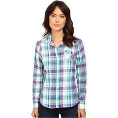 U.S. POLO ASSN. Plaid Poplin Single Pocket Shirt (Peacock Green) ($15) ❤ liked on Polyvore featuring tops, green, long sleeve button up shirts, plaid shirts, long sleeve button down shirts, plaid button-down shirts and button-down shirt