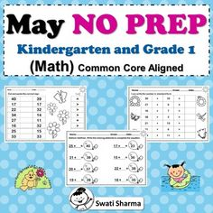 May NO PREP Kindergarten and Grade First Math Packet, Distance Learning Number Worksheets, Printable Worksheets, 1st Grade Math, Grade 1, Distance, Prepping, Kindergarten, Learning, First Grade Math