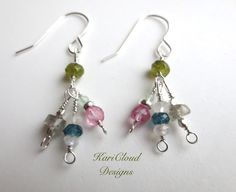 Handmade dangle earrings made with gemstones and sterling silver.  Made by KariCloud Designs.  Holly Springs, NC.