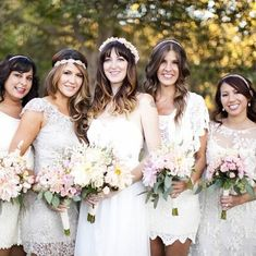 Love the all white boho feel of these bridesmaid dresses!