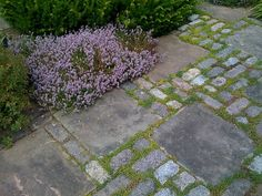 Garden paving with mix of flagstones and cobble stones