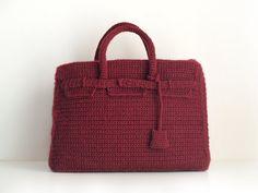 Burgundy crochet Birkin bag. Handmade purse by SILAYAYA