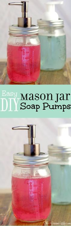 Easy DIY Mason Jar Soap Pumps - an easy DIY craft using mason jars. Perfect for your kitchen or bathroom!  I have one in both!