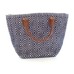 Fresh American   Fresh American Le Tote Navy/Ivory Tote Bag Petit   Snappy style is in the bag! Our sweetly smart yet rough-and-tumble tote bags—made of durable polypropylene with leather handles—are an easy way to add pizazz to your favorite outfit. Available in three patterns and sizes.