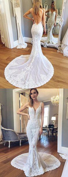 Mermaid V-Ausschnitt Rückenfrei Gericht Schleppe Hochzeitskleid mit Spitze Applikationen Brautkleider Brautkleid Lange Brautkleider