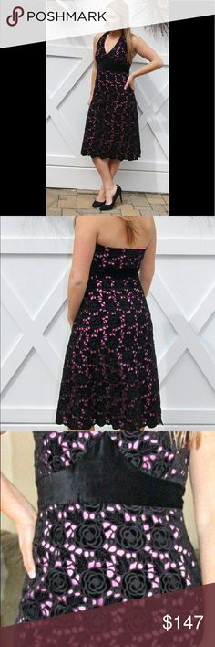 """NWOT Lilly Pulitzer 'Carmella' Rose Halter Dress NWOT Lilly Pulitzer Black Rose Halter Dress  ▪️Details: Beautifully, stunning NWOT Lilly Pulitzer 'Carmella' Black Velvet Rose Eyelet Halter dress with Peek-a-boo pink underlay. The craftsmanship of this dress is outstanding! ◾️Condition: NWOT ◼️Measurements: (when laid flat) Bust: 17"""", Waist: 15"""", Hips: 18"""", armpit to hem: 35.5"""" ⬛️Style Suggestion: This is a heavier dress, so it would be perfect for those change-of-season occasions where it…"""
