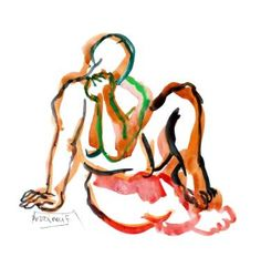 "Saatchi Art Artist Françoise Zia; Drawing, ""Woman sitting orange 22"" #art"