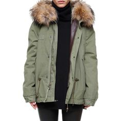 MR & MRS ITALY Army mini parka quilt inside lining ($1,485) ❤ liked on Polyvore featuring outerwear, green, army parka, fur-lined parkas, army green parka and green parka