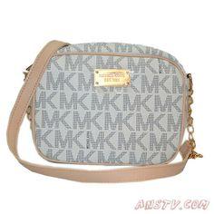 Acheter MK931 Michael Kors Logo Signature Small Blanc Shoulder Bag Pas cher