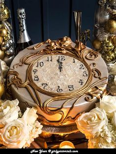 New Year Cake Idea-the elegant clock cake—with the time set just before the stoke of