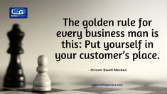 The golden rule for every businessman is this: Put yourself in your customer's place. – Orison Swett Marden #SalesGarners #Monday #mondaythoughts #MondayMotivation #businessgrowth #Marketing #marketingdigital #Busniess #DigitalMarketing #GrowthHacking #success #Growth #Vision Golden Rule, Lead Generation, Business Quotes, Monday Motivation, Digital Marketing, Success, Relationship, Thoughts, Relationships