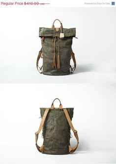 Leather backpack for Men Gray Leather Backpack Large Original Backpack Vintage…
