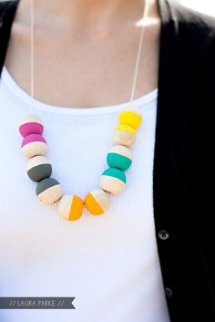 PAINTED WOODEN BEAD NECKLACE   www.agirlwhomakes...
