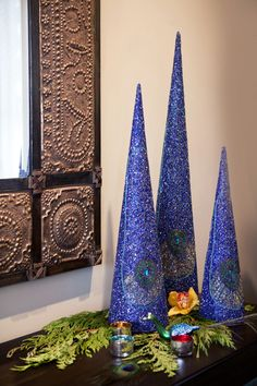 ~ Sparkly Blue Christmas Trees ~
