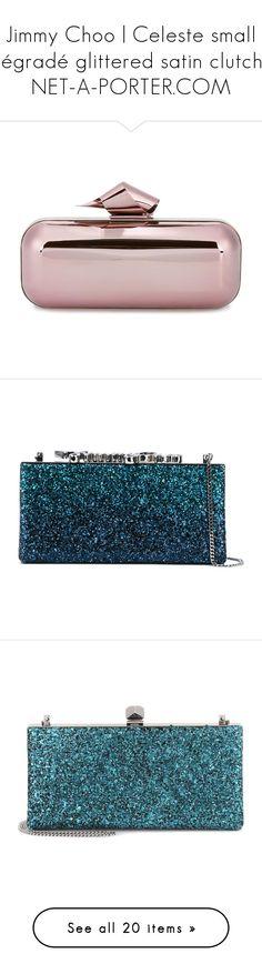 """Jimmy Choo | Celeste small dégradé glittered satin clutch | NET-A-PORTER.COM"" by bleubeauty1 on Polyvore featuring bags, handbags, clutches, bolsas, pink metallic purse, structured handbags, clasp purse, jimmy choo, structured purse and blue"