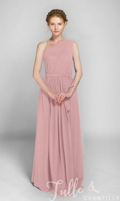 Long One Shoulder Bridesmaid Dress with Sash TBQP246 click for 40+ colors