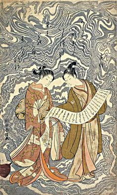 (Japan) Kanzan et Jittoku by Suzuki Harunobu (1725- 1770). woodblock print. ink and color on paper.