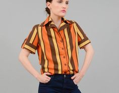 f4d056a781e137 Vintage 70s Autumnal MOD Striped Shirt Button Up Short Sleeve 1970s Fitted  Top Fall Colors Orange