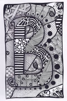 Zentangle, Letter B, ZebrA Letters, name, bunting