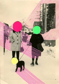 Naomi Vona Collage: Paper on Paper.  Size: 5.8 H x 4.1 W x 0 in  Paper and felt tip pens on a vintage photo.