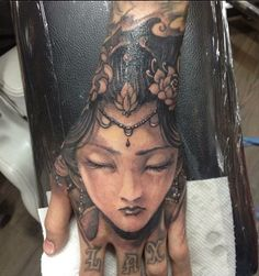 Chronic Ink Tattoo,, Toronto Tattoo,, - Full hand girl face tattoo done by Tristen there more detail in real Life come check it out.