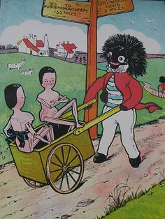 """The """"Golliwog Express illustration """" to nobody knows where """"street...vintage golly postcard."""
