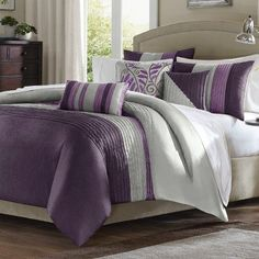 Purple And Grey Bedding Idea (Solid gray blanket, gray/purple pillows and 1 sold purple pillow)