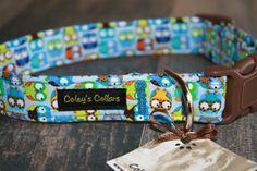Blue Owl Dog Collar Owl in Blue Custom Dog Collar by ColeysCollars, $16.95