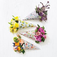 Floral paper flower cones (via Martha Stewart Living).